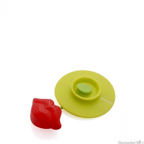 Silikónové čajítko a pokrievka 2v1 Brandani - červeno/zelené