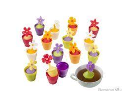 Silikónové sitko na čaj Brandani - fialový kvetináč