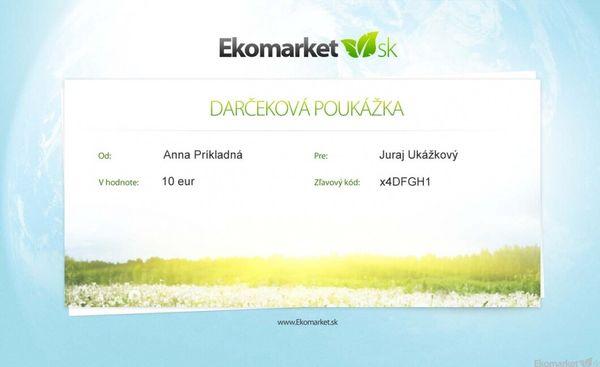 Darčeková poukážka Ekomarket 15 eur