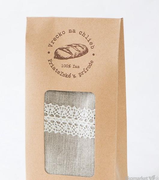 Ľanové vrecko na chlieb s krajkou 45x24 cm