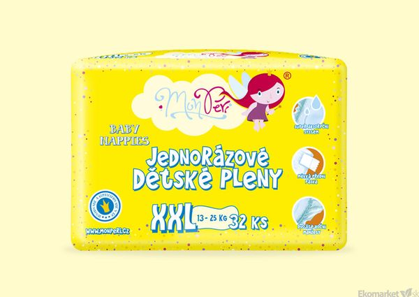 MonPeri ekologické detské jednorázové plienky XXL 13 - 25 kg