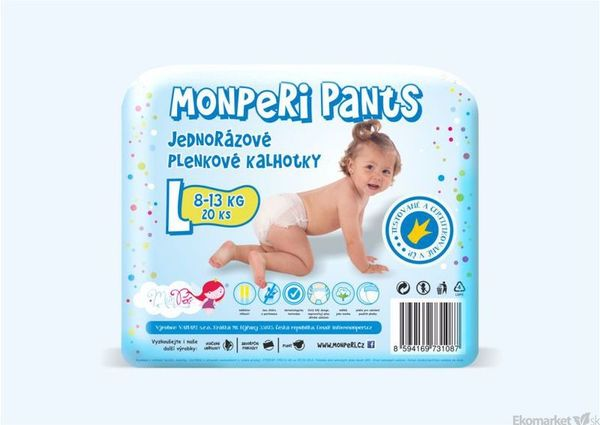 MonPeri ekologické nohavičkové jednorázové plienky L 8 - 13kg 20ks