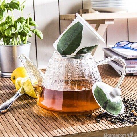 Sklenený čajník LISTY s porcelánovým čajítkom 1200 ml